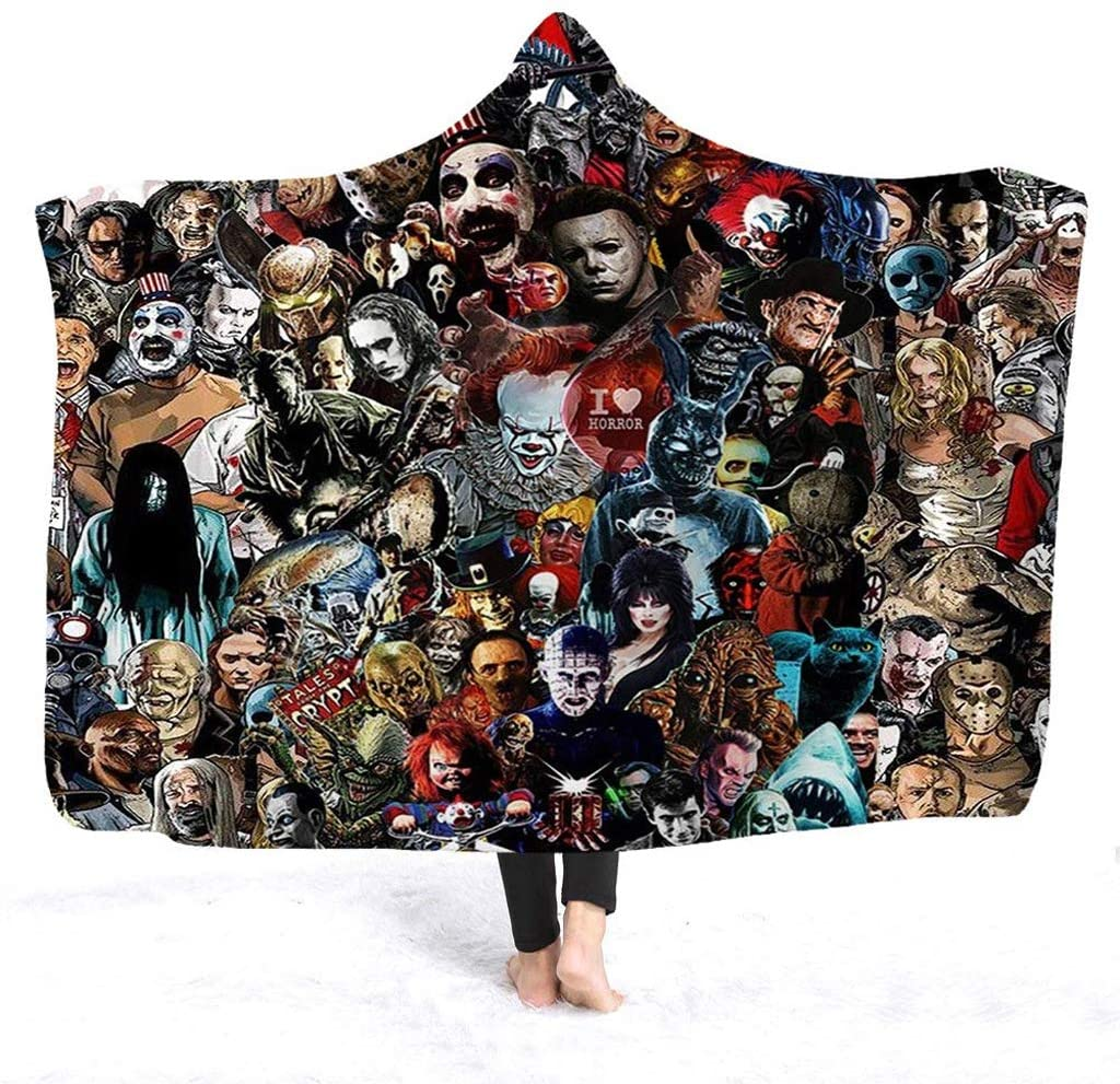 Hooded Blanket, Horror Mysterious Character Hooded Blanket for Adults