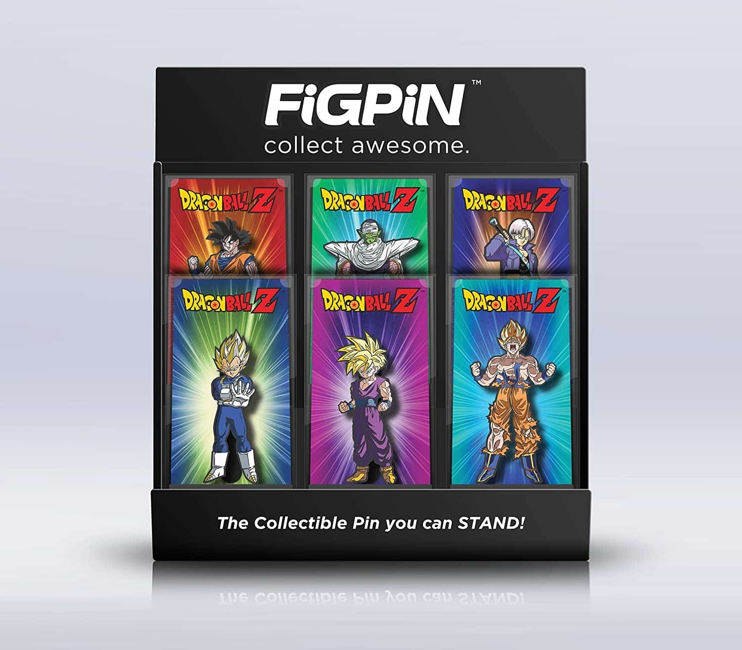 Collectible Dragon Ball Z pin set of 6. It will either make a great addition to one's collection or a fun accessory to their clothing.