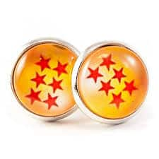 Dragon Ball Stud Earrings Yellow and Red Star Design dragon ball z valentine gifts