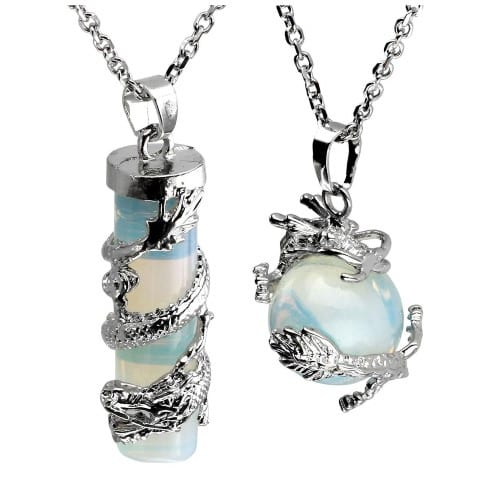 Dragon Wrapped Round Ball Cylinder Gemstone Healing Crystal Pendant Necklaces Set - dragon ball z gifts for her (Small)
