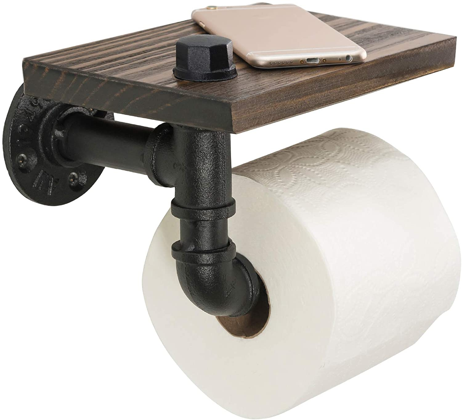 Excello Global Products Industrial Toilet Paper Holder with Rustic Wooden Shelf and Cast Iron Pipe Hardware for Bathroom steampunk home decor ideas