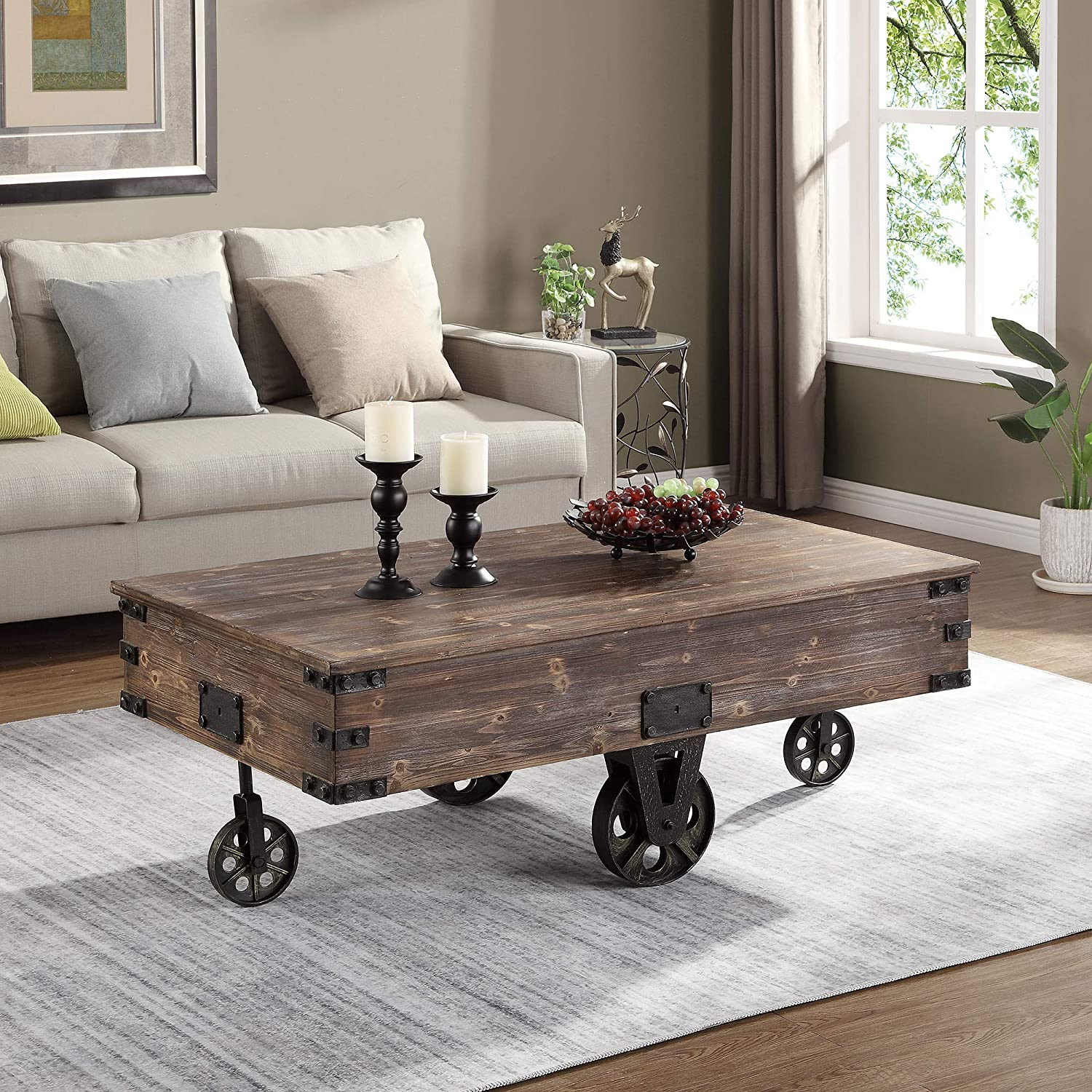 FirsTime & Co. Factory Cart Coffee Accent Table steampunk home decor ideas