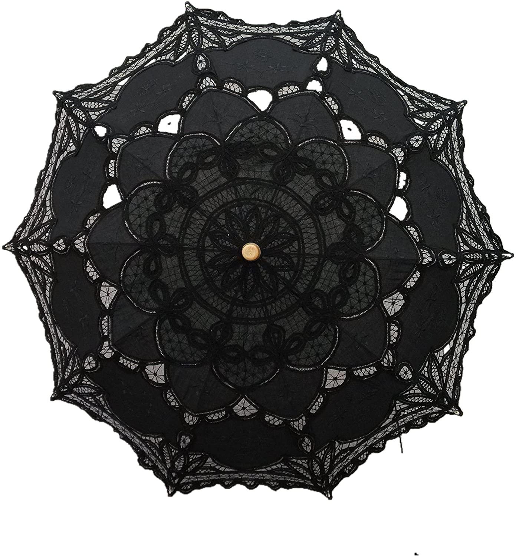 Handmade Black Lace Parasol Umbrella steampunk style