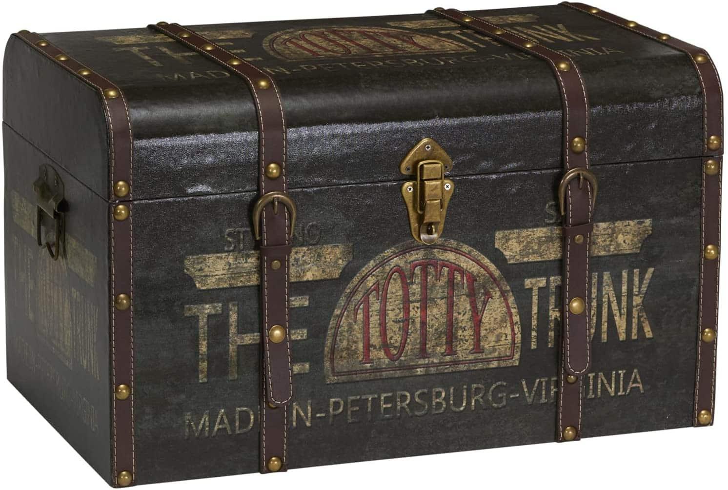 Household Essentials 9243-1 Large Vintage Decorative Home Storage Trunk steampunk storage