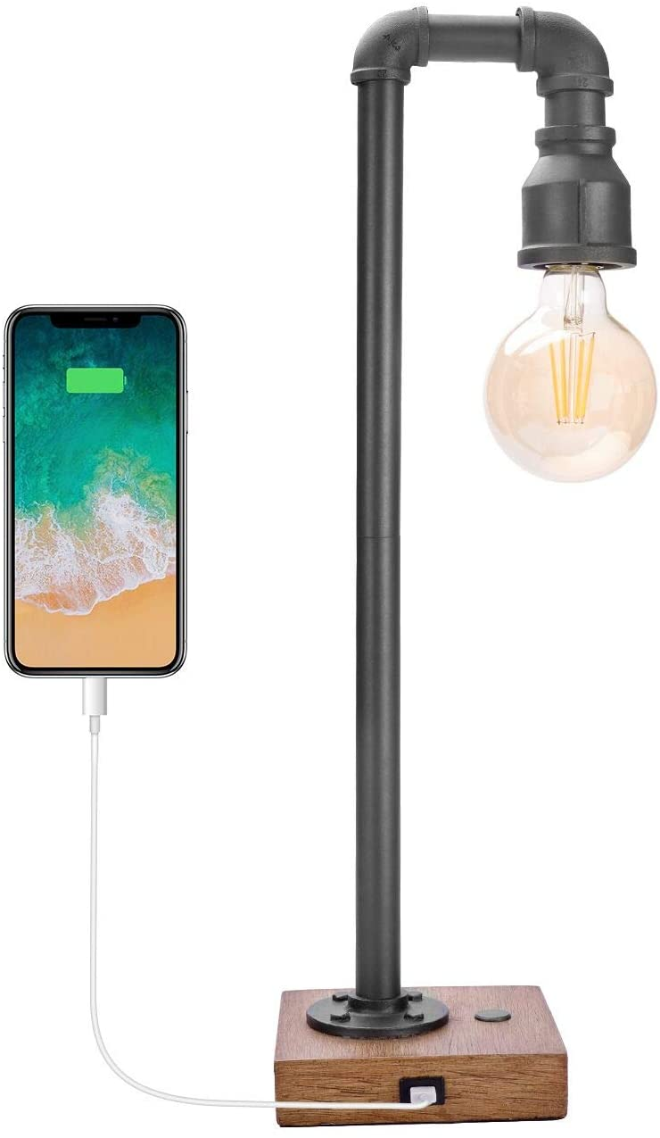 Industrial Table Lamp with USB Charging Port