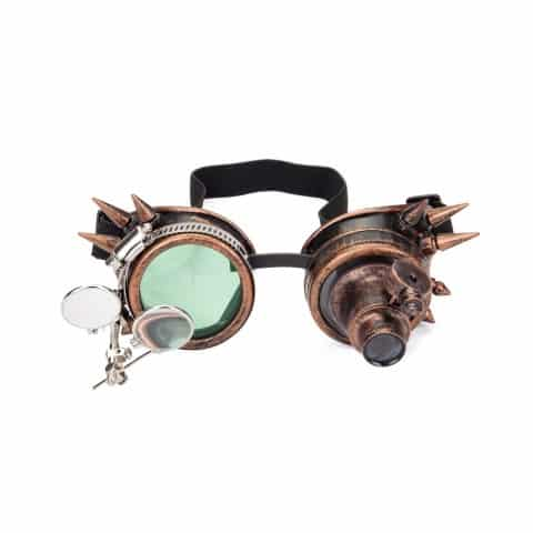 KOLCY Spiked Steampunk Goggles Double Ocular Loupe Welding Punk Gothic Glasses (Small)