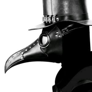 Leather Plague Doctor Mask Steampunk Bird Mask Long Beak Halloween Masquerade Party Costume Mask