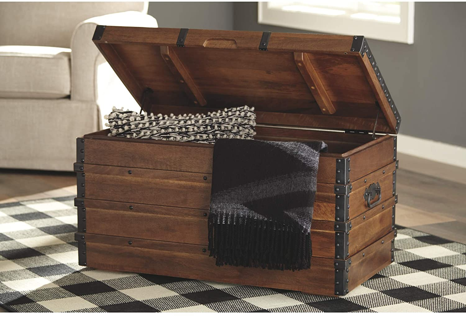Signature Design by Ashley - Kettleby Storage Trunk - Rustic - Brown 3