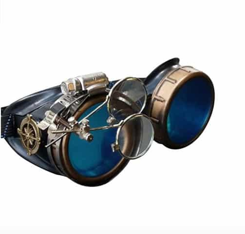 UMBRELLALABORATORY Steampunk Victorian Style Goggles with Compass Design, Colored Lenses & Ocular Loupe (Small)