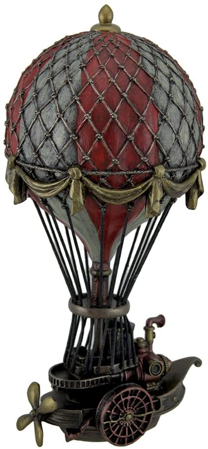 Veronese Design Hand Painted Steampunk Hot Air Balloon Fantasy Statue gifts for steampunk lovers