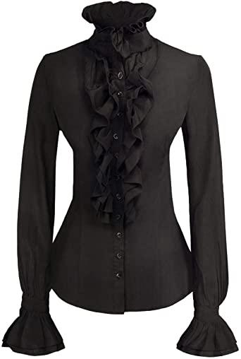 Women Stand-Up Collar Lotus Ruffle Shirts Blouse - victorian steampunk shirt