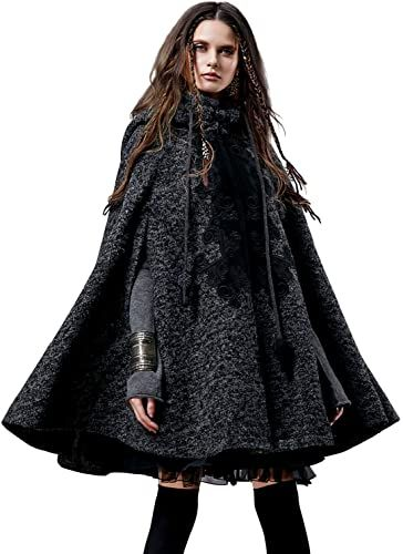 Women's Hooded Wool Blend Cape Coat with Vintage Embroidery steampunk coat