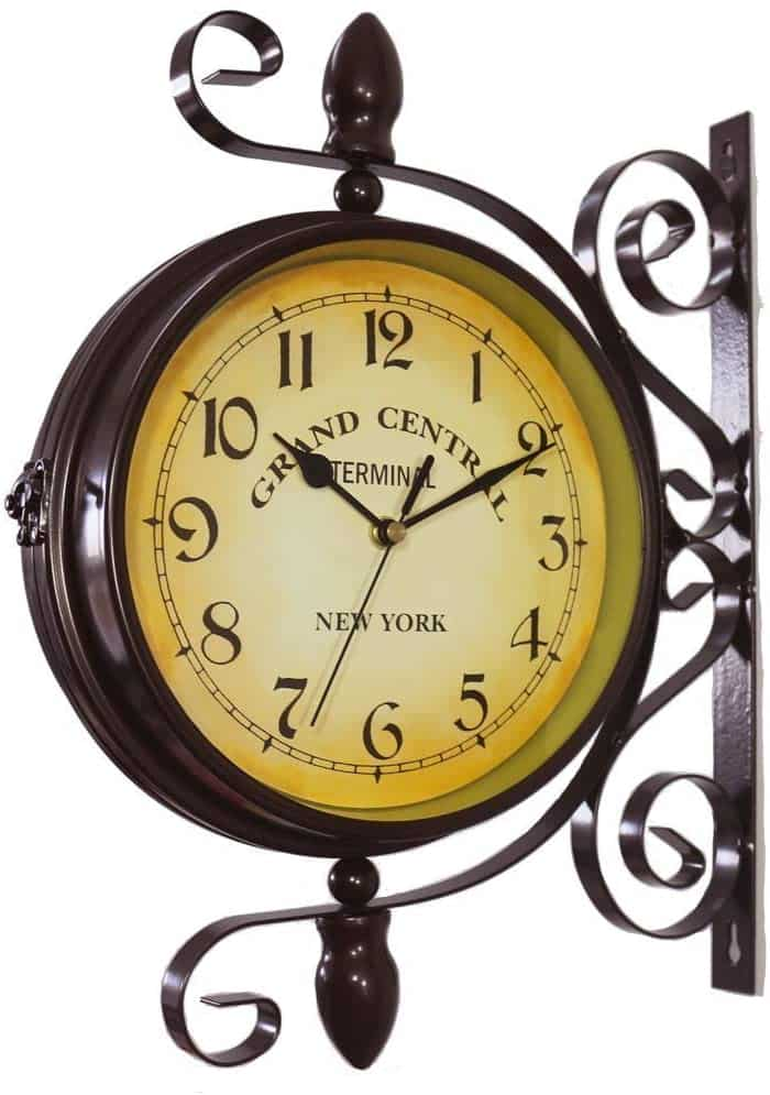 Wrought Iron Antique-Look Brown Round Wall Hanging Double Sided Two Faces Retro Station Clock steampunk clock