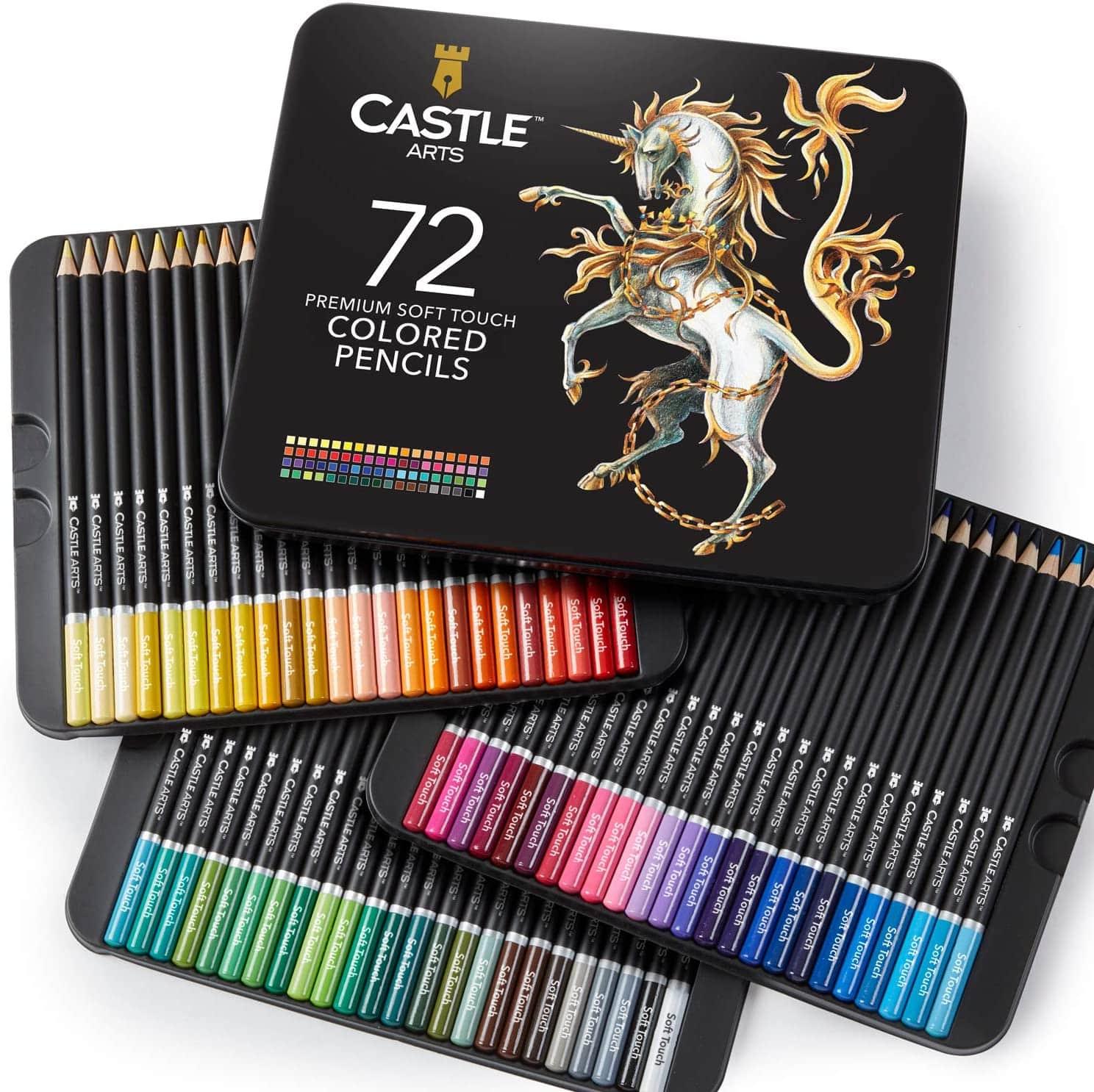 Castle Art Supplies 72 Colored Pencils Set for Coloring Books