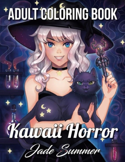 Kawaii Horror An Adult Coloring Book with Adorable Girls, Spooky Scenes - anime coloring book for adults (Small)