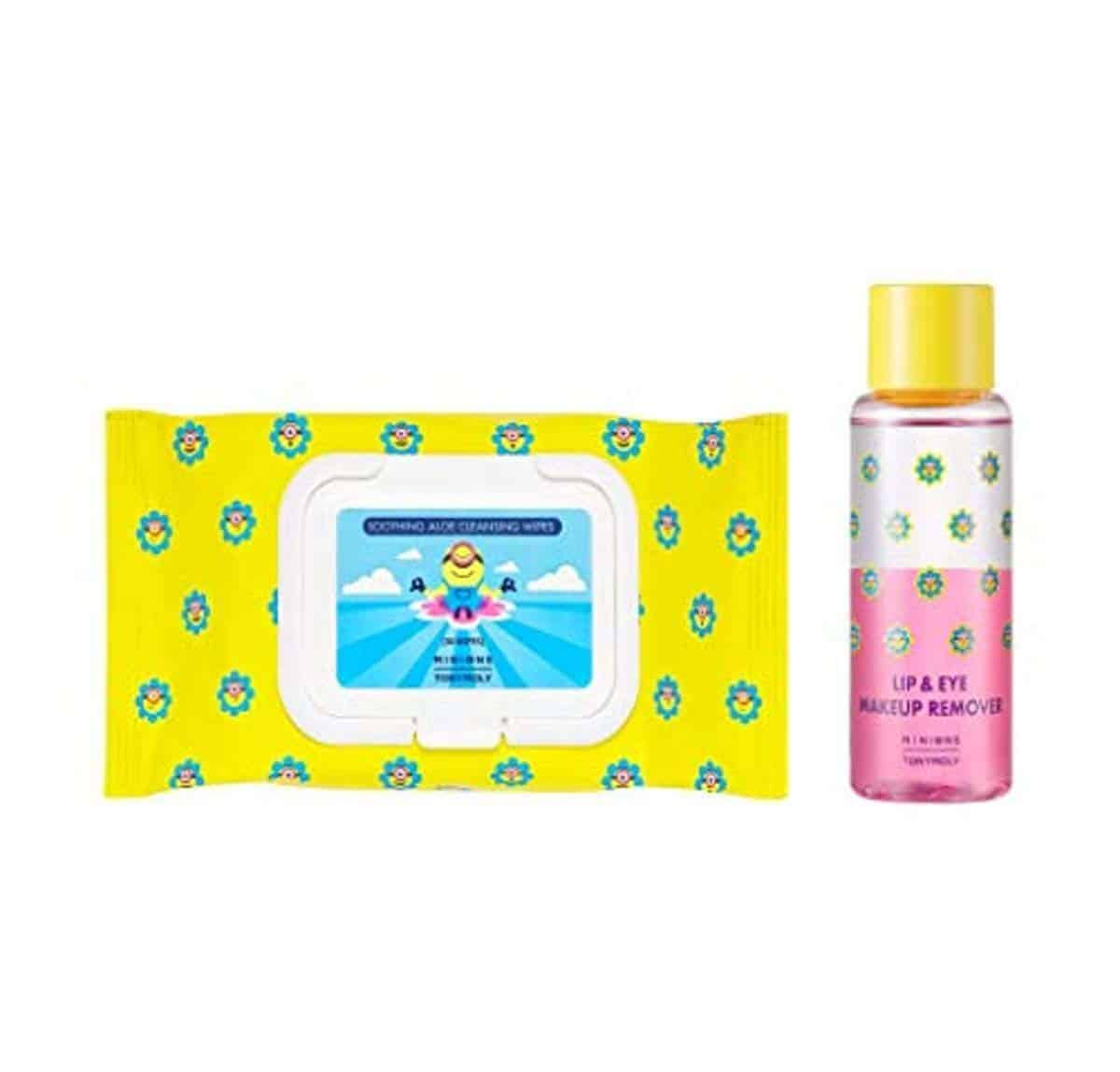 TONYMOLY X MINIONS Makeup Remover 65ml + Cleansing Wipe Set - tony moly make up