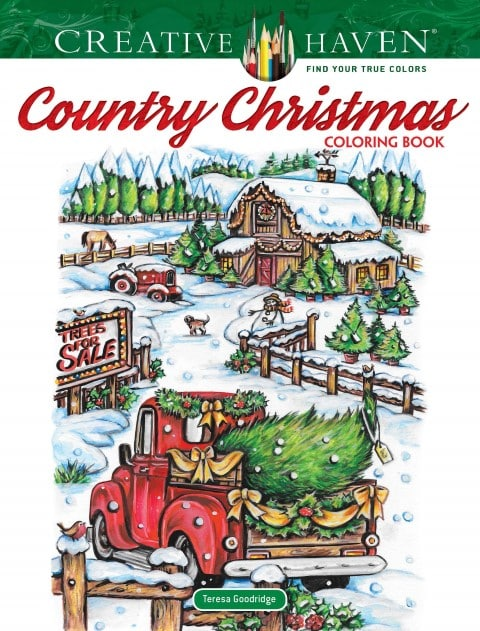 Creative Haven Country Christmas Coloring Book by Teresa Goodridge, Published August 14, 2019 (Small)