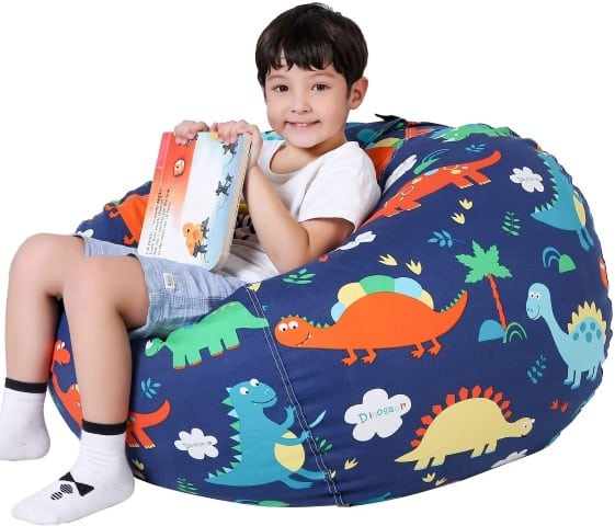 Dino Storage Bean Bag Chair for Kids - best reading chairs for kids (Small)