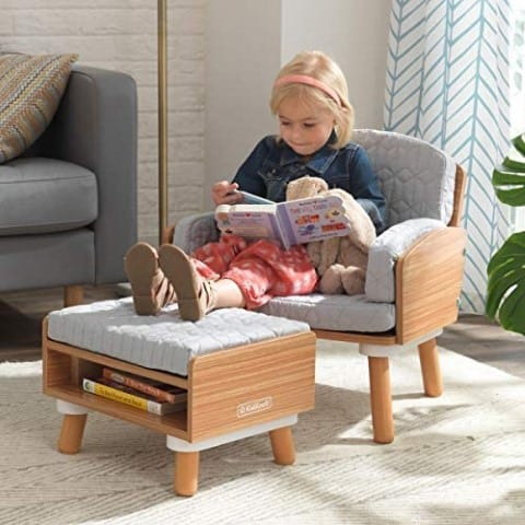 Mid-Century Kid Reading Chair with Ottoman footrest, cute reading chairs for kids
