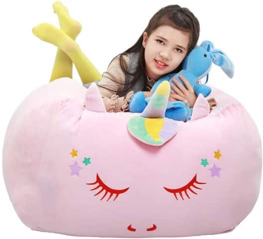 Unicorn Storage Bean Bag Chair Cover For Kids - best reading chairs for kids