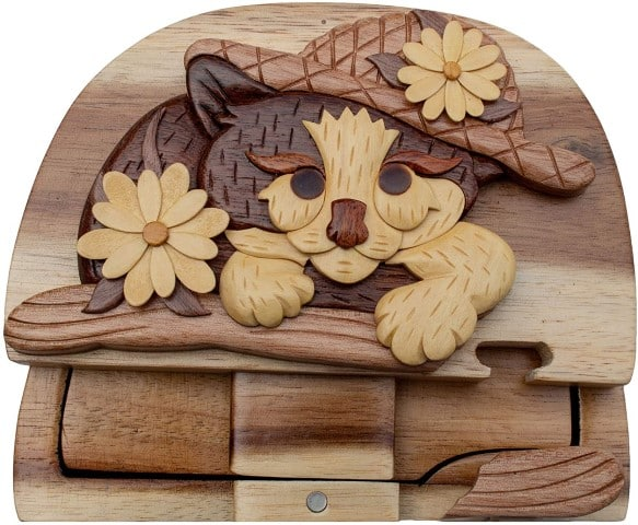 Hand-Carved Puzzle Box for cat lovers