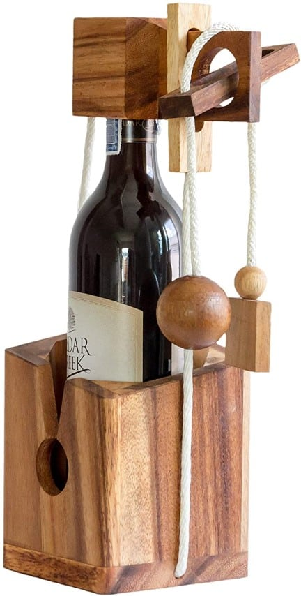 Wooden Box Wine Bottle Puzzle Game for Adults