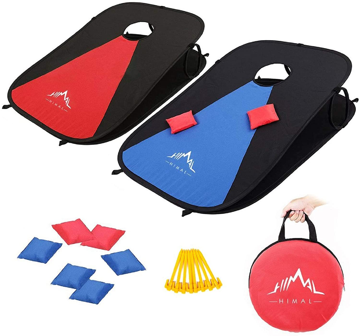 Collapsible Portable Corn Hole Boards With 8 Cornhole Bean Bags