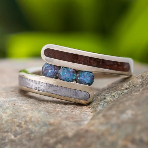 Alexandrite with Meteorite & Dinosaur Bone Engagement Rings For nerds (Small)