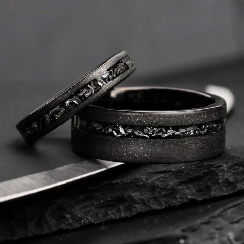 Black Meteorite Wedding Rings For nerds (Small)