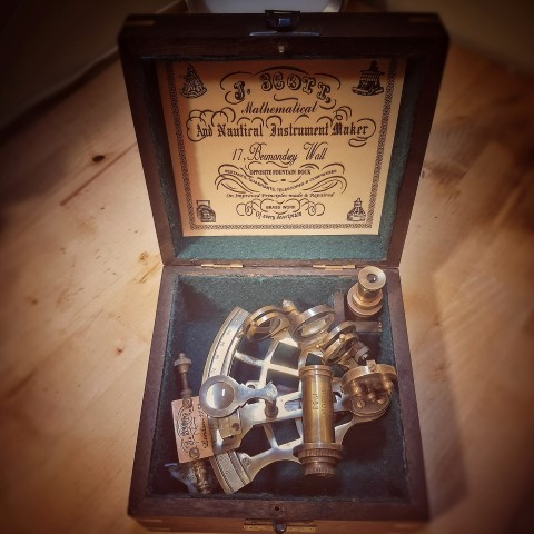 Brass Sextant w Wooden Box Vintage Solid Antique Nautical Sailing Maritime Marine Navy Functional Gift (Small)