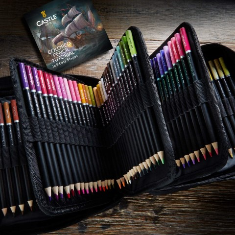 Castle Art Supplies 120 Colored Pencils Zip-Up Set perfect for Adults Artists (Small)