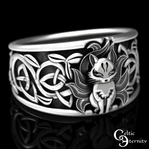 Celtic Fox Wedding Rings For Nerds (Small)
