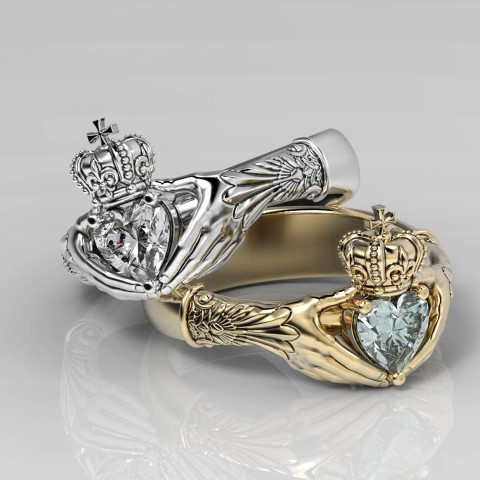 Claddagh diamond unique engagement rings for Geeks (Small)