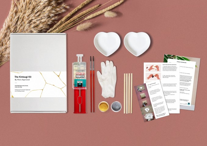 DIY Kintsugi Kit for Adults With Ceramic Hearts (Small)