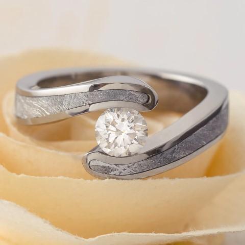 Diamond & Meteorite Engagement Rings for Nerds (Small)