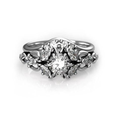 Elvish Wedding Ring Set For Geeks (Small)