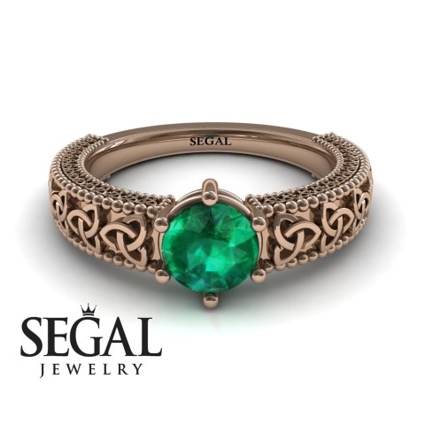 Emerald Celtic Engagement Ring For Nerds (Small)
