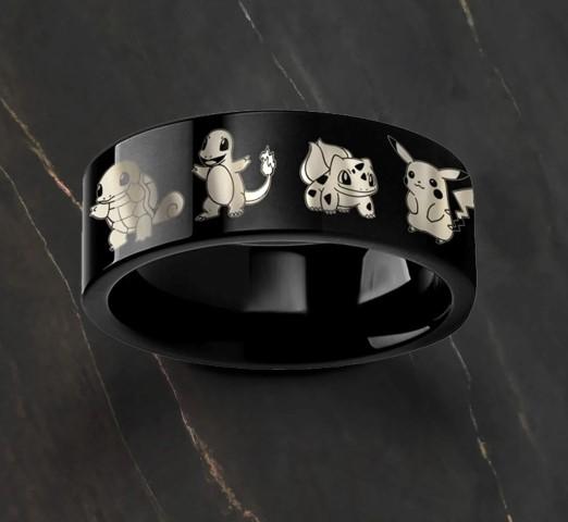 Engraved Starter Pokemon Wedding rings for Geeks (Small)