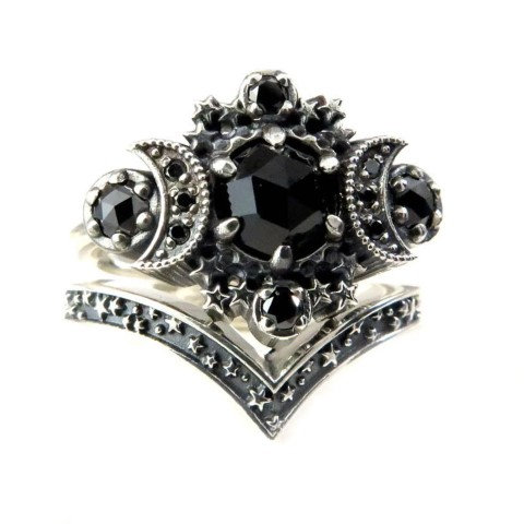 Gothic Cosmos Moon Engagement Ring Set For Nerds (Small)