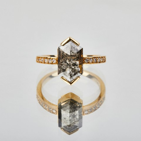 Hexagon Salt and Pepper Diamond Engagement Ring For Nerds (Small)