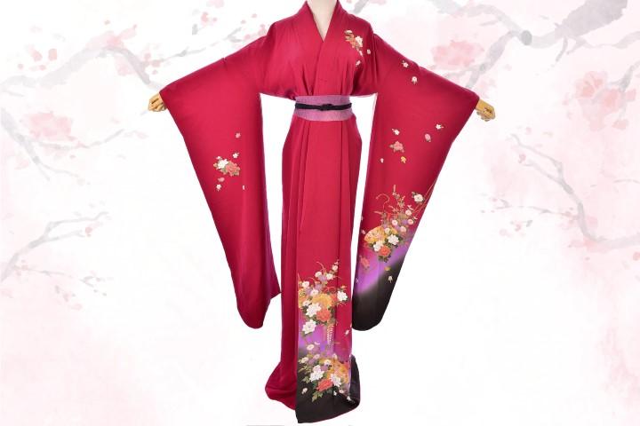 Japanese Burgundy Red Silk furisode kimono (Small)
