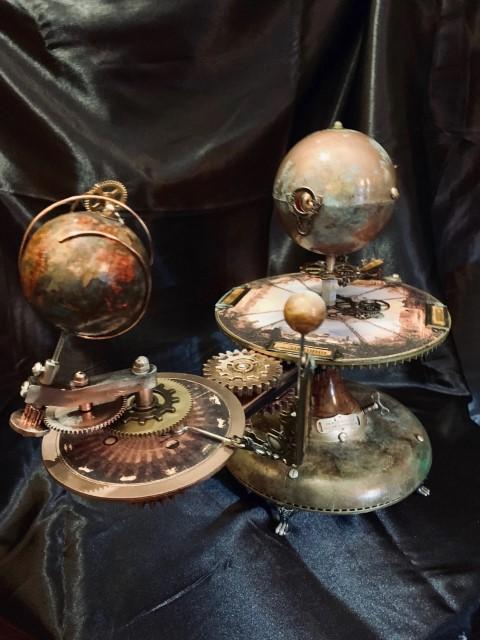 Jules Verne Inspired Steampunk Orrery Solar System Planetarium Orbiter Space Travel (Small)