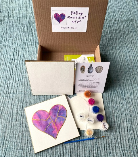 Kintsugi Mended Heart art kit with guided meditation (Small)