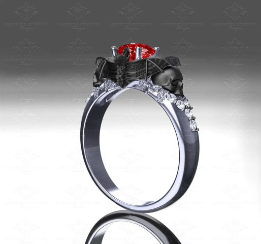Moonlight - Natural Ruby and White Diamond Bat and Skull Goth Engagement Ring (Small)