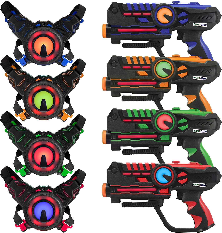 Multip Player Laser Tag Guns with Vests (Set of 4, ArmoGear Laser Tag)