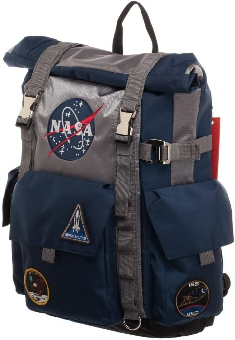 NASA Roll-Top Backpack - Blue and Grey Backpack (Small)