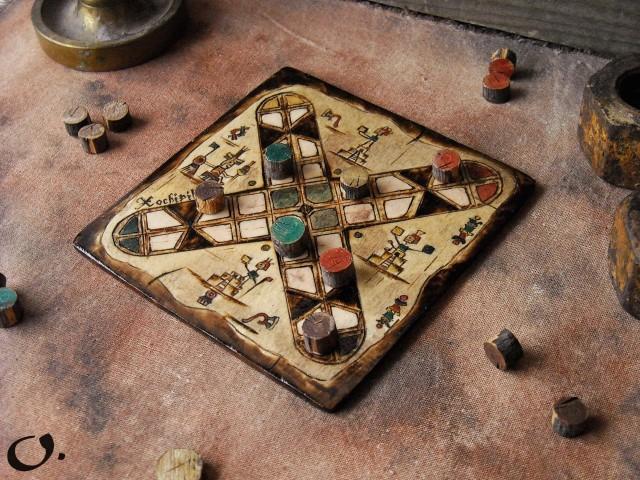 Patolli Small Handmade Board Game- Ancient Mayan Race Boardgame