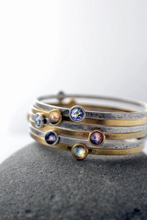 Petite Solar System Planet and Nebula Bracelet - Space Jewellery (Small)