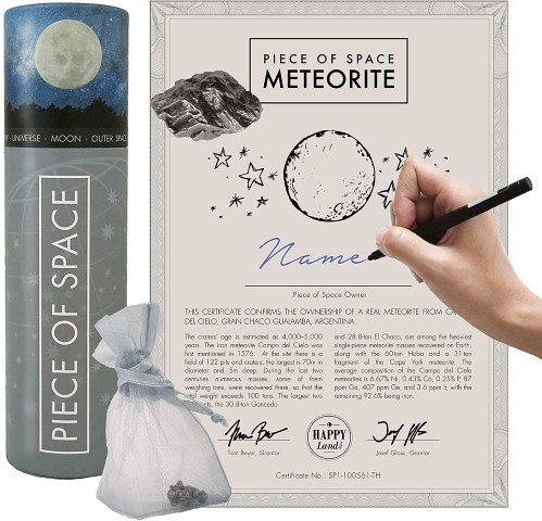 Piece of Space - Real Iron Meteorite or Shooting Star Set with Certificate of Authenticity & Bag - NASA Space gift (Small)