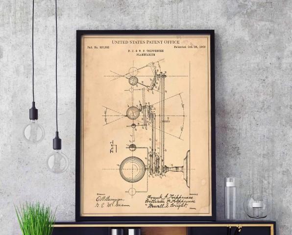 Planetarium 1909 astronaut sky nasa mars rocket black hole galaxy ufo print wall art poster (Small)